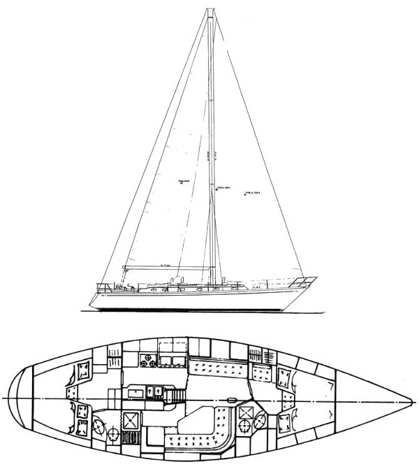 Little Harbor 44 drawing on sailboatdata.com