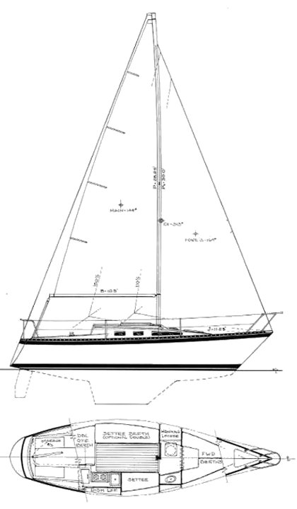 LN-27 drawing on sailboatdata.com