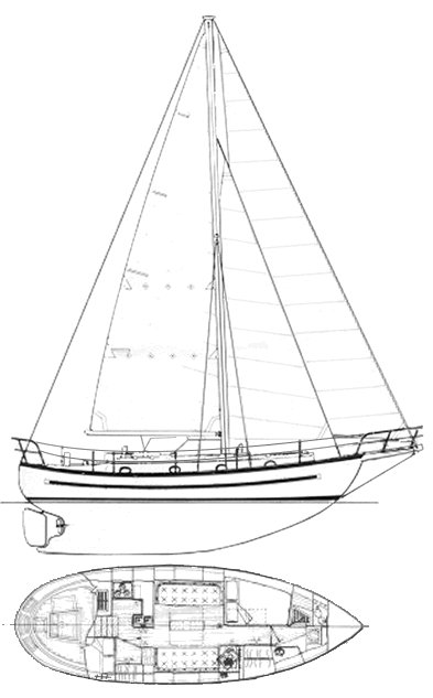 Lord Nelson 35 drawing on sailboatdata.com