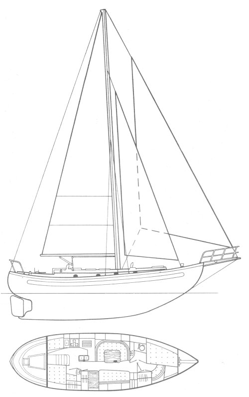 Lord Nelson 41 drawing on sailboatdata.com
