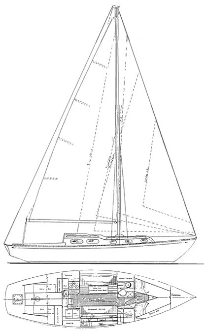 Luders 33 drawing on sailboatdata.com
