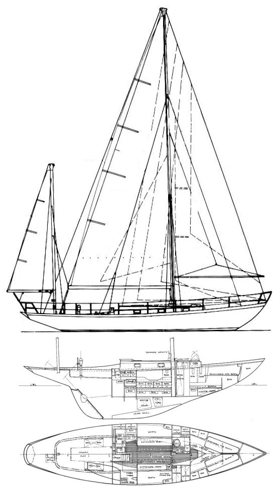 Luders 44 (1965) drawing on sailboatdata.com