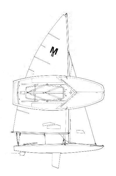 M-16 SCOW sailboat specifications and details on