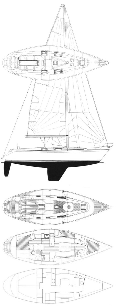 Maestro 38 drawing on sailboatdata.com