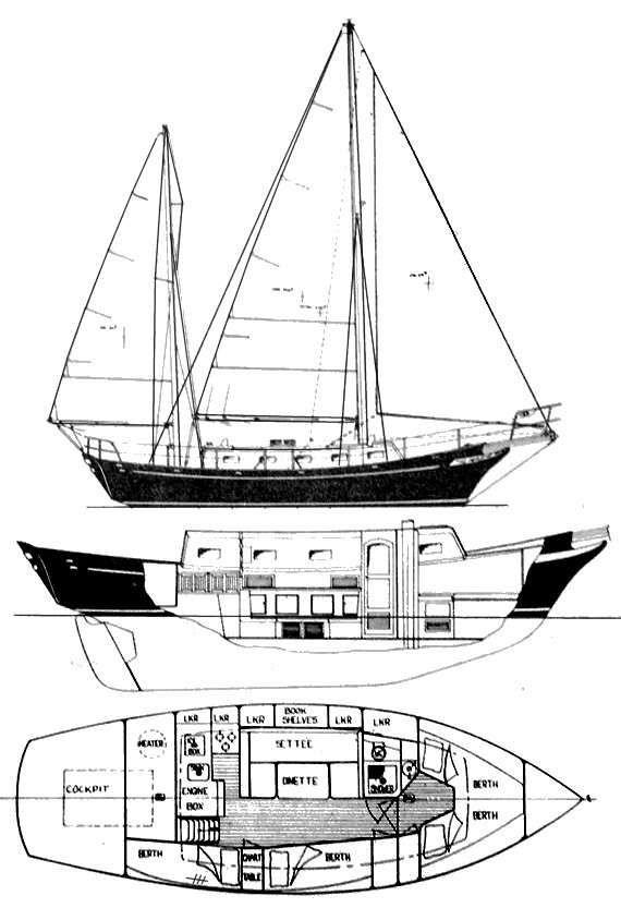 Magellan 36 drawing on sailboatdata.com