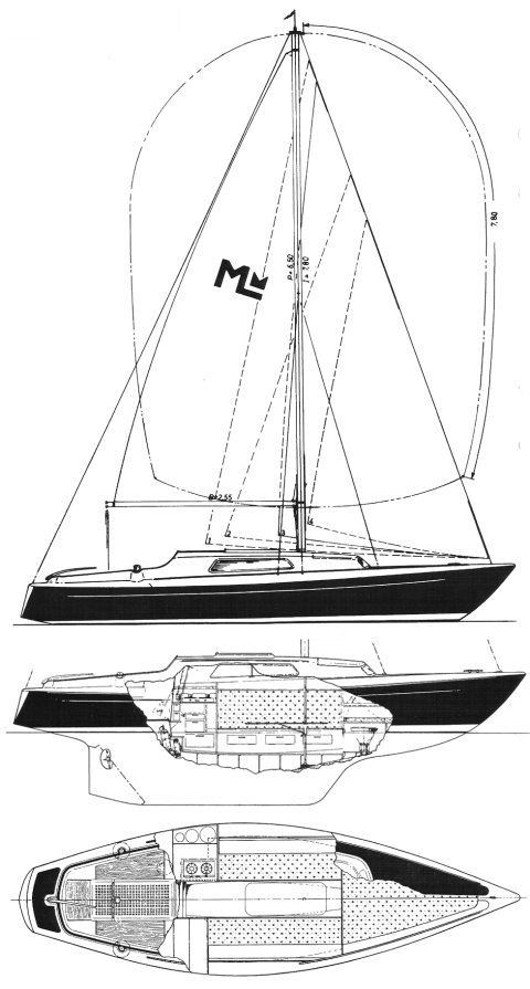 Magnifik Midget drawing on sailboatdata.com