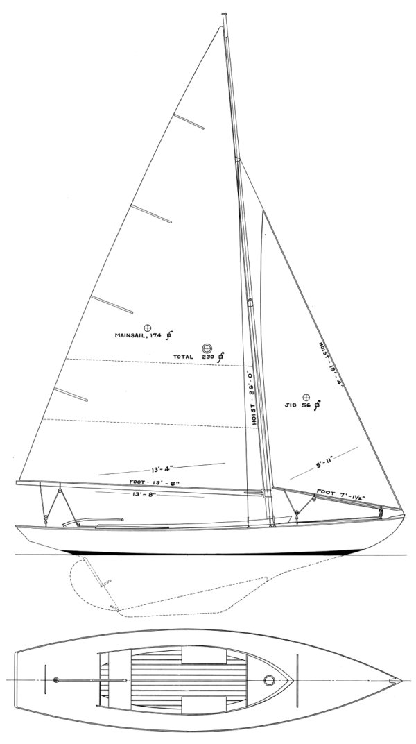 Mahhasset Bay One-Design drawing on sailboatdata.com