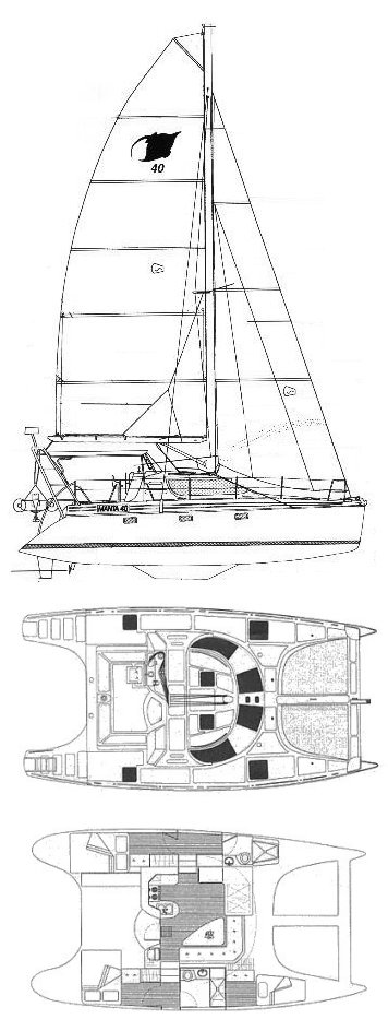 Manta 40 drawing on sailboatdata.com