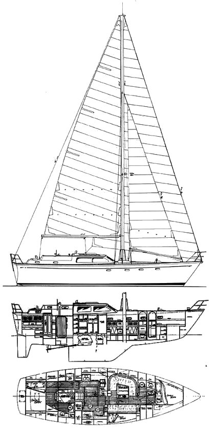 Mao Ta 42 (Brewer) drawing on sailboatdata.com