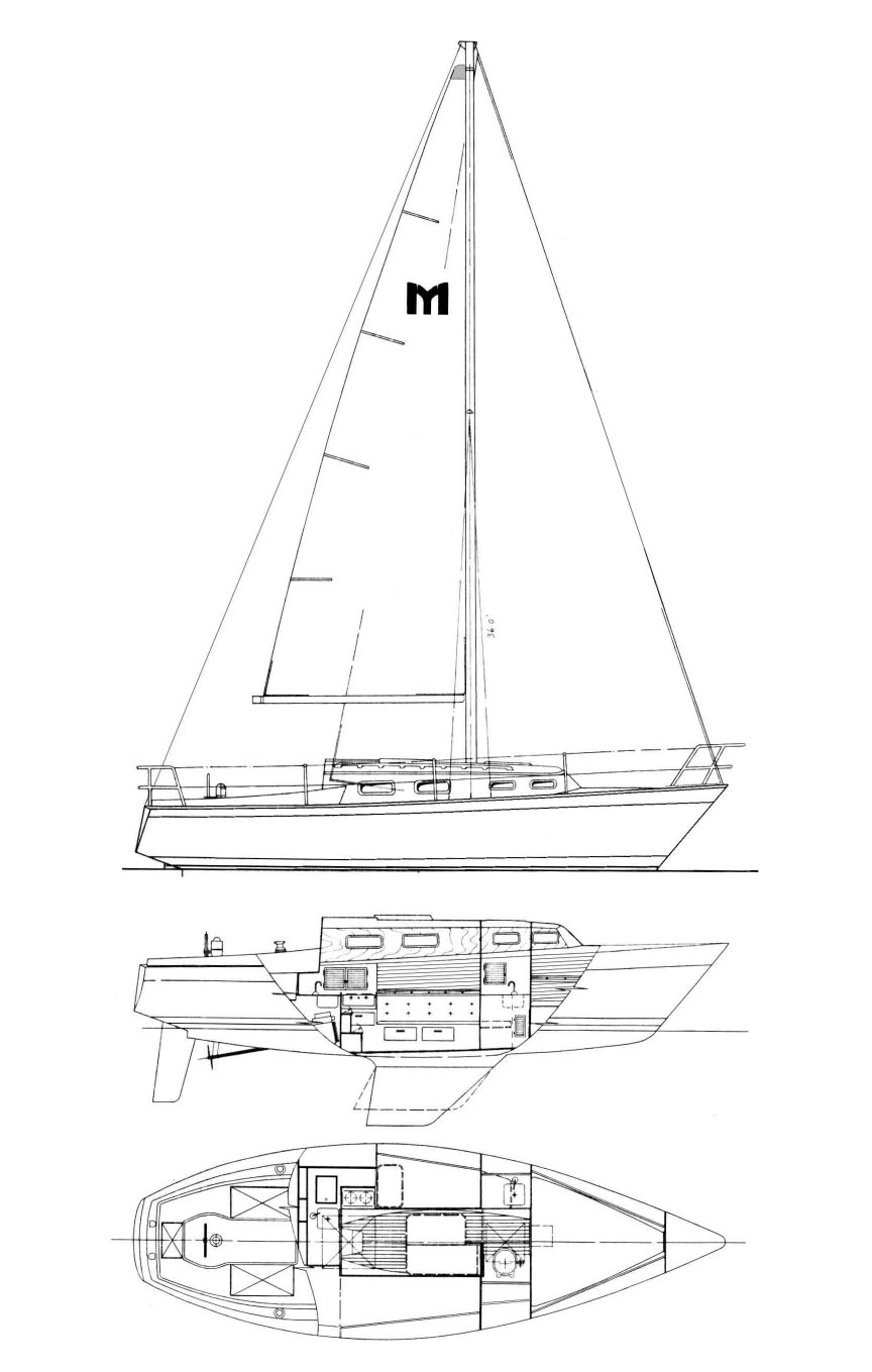 Mariner 28 drawing on sailboatdata.com