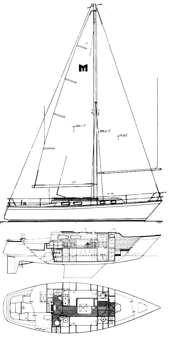 Mariner 36 (Canning) drawing on sailboatdata.com