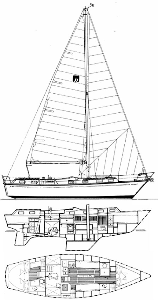 Mariner 39 drawing on sailboatdata.com