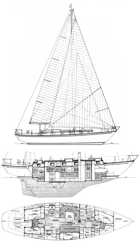 Mason 43 drawing on sailboatdata.com