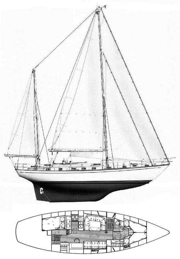 Mason 53 ketch drawing on sailboatdata.com