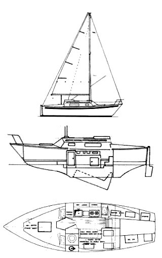 Matilda 23 drawing on sailboatdata.com