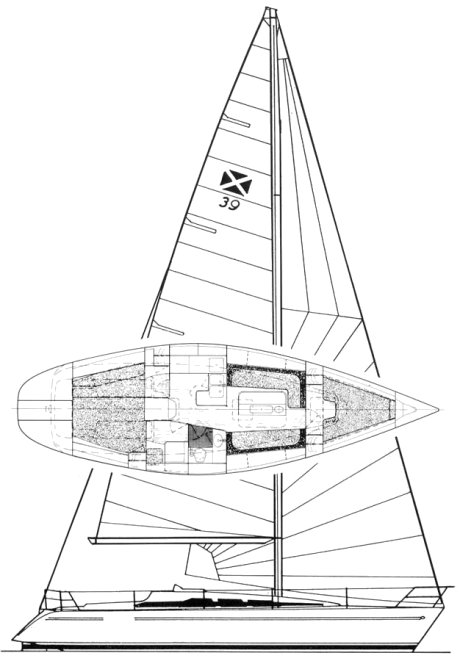 Maxi 39 drawing on sailboatdata.com