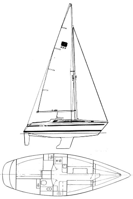 Maxi 999 drawing on sailboatdata.com