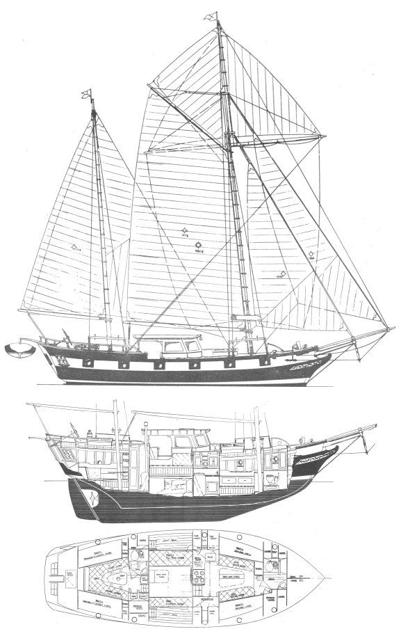 Mayflower 40 drawing on sailboatdata.com