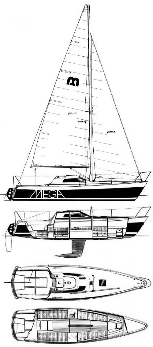 Mega 30 One-Design drawing on sailboatdata.com