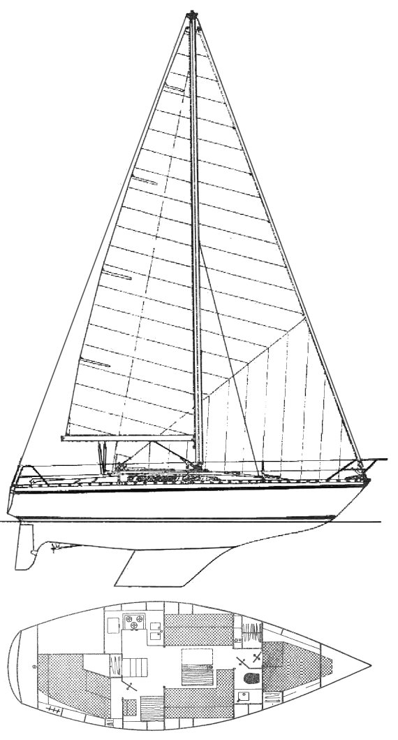 Melody (Jeanneau) drawing on sailboatdata.com