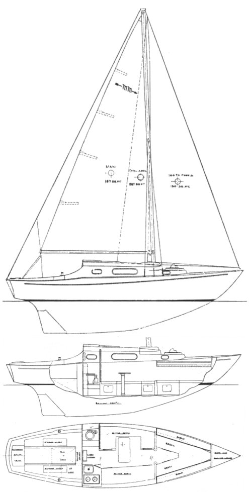 Micmac 26 (McVay) drawing on sailboatdata.com