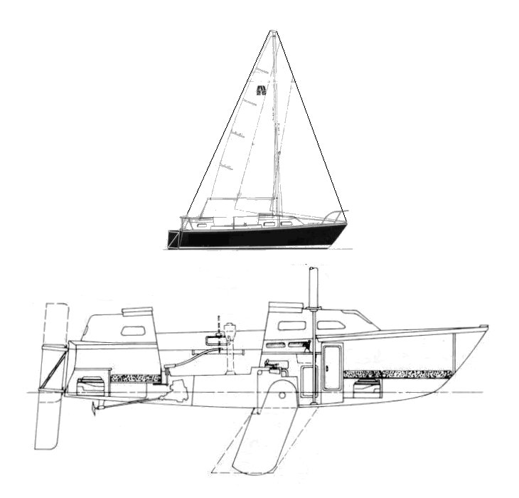 Midship 25 drawing on sailboatdata.com