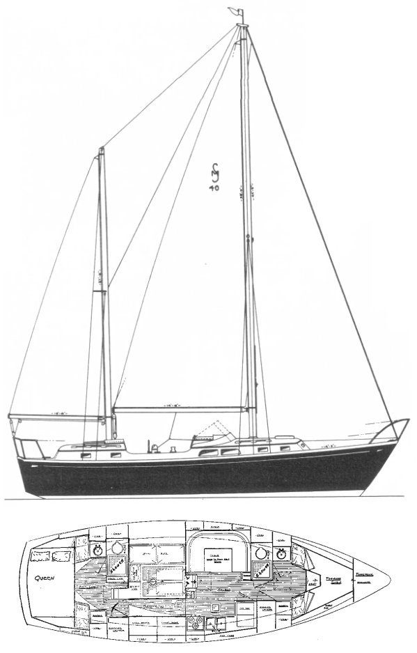 Midshipman 40 (Cheoy Lee) drawing on sailboatdata.com