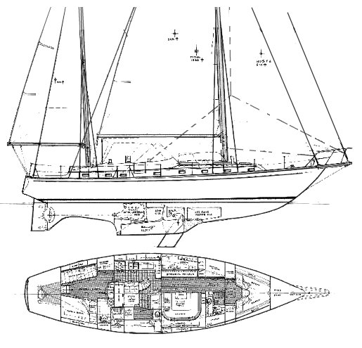 Midshipman 52 drawing on sailboatdata.com