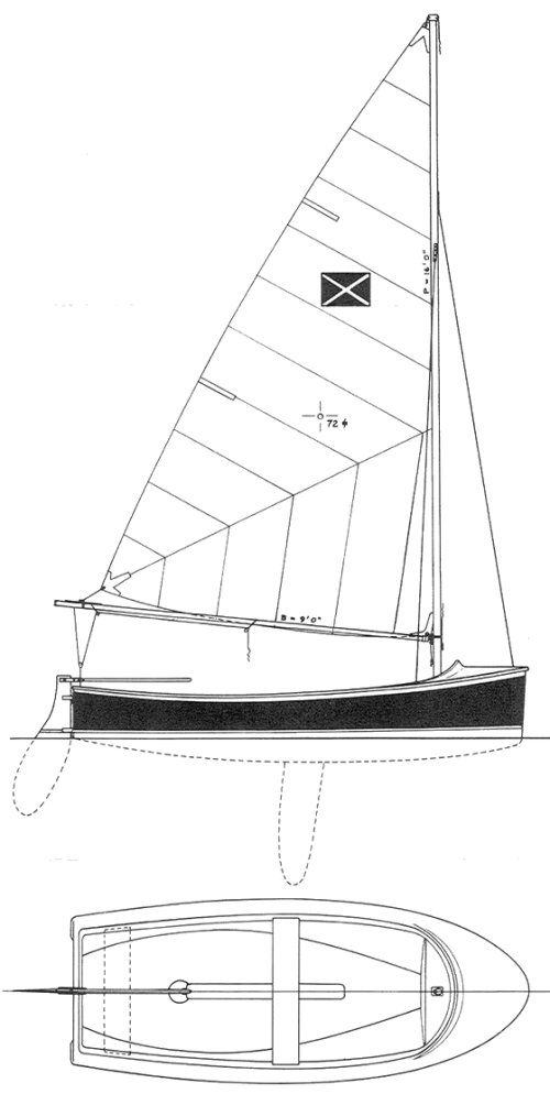 Minuteman Dinghy drawing on sailboatdata.com