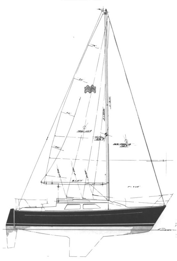 Mirage 25 drawing on sailboatdata.com