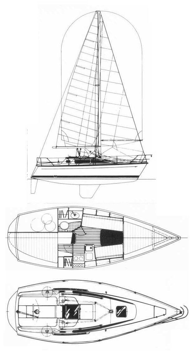 Mirage 275 drawing on sailboatdata.com