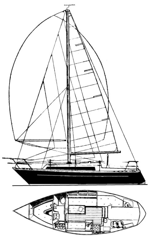 Mirage 28 (Feltham) drawing on sailboatdata.com