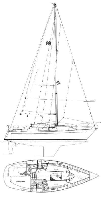Mirage 30 drawing on sailboatdata.com