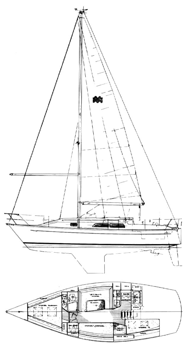 Mirage 33 drawing on sailboatdata.com