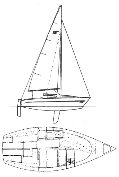 Mistral T-21 drawing on sailboatdata.com