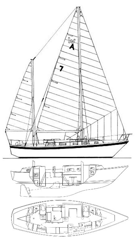 Mistress 39 (Allied) drawing on sailboatdata.com