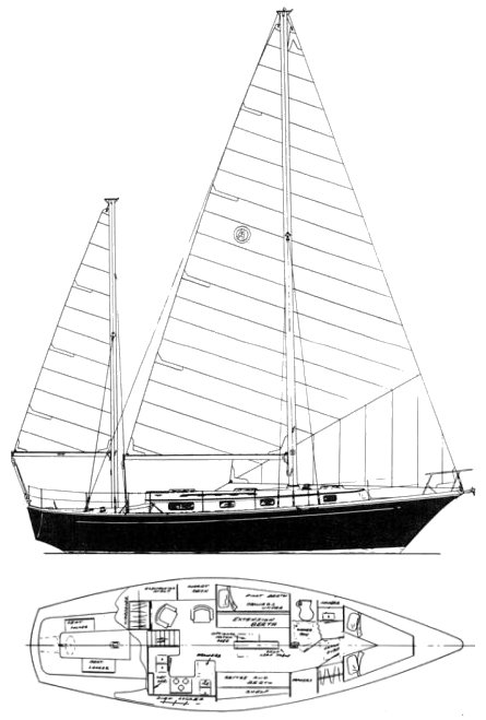 Mistress 39 MkII drawing on sailboatdata.com