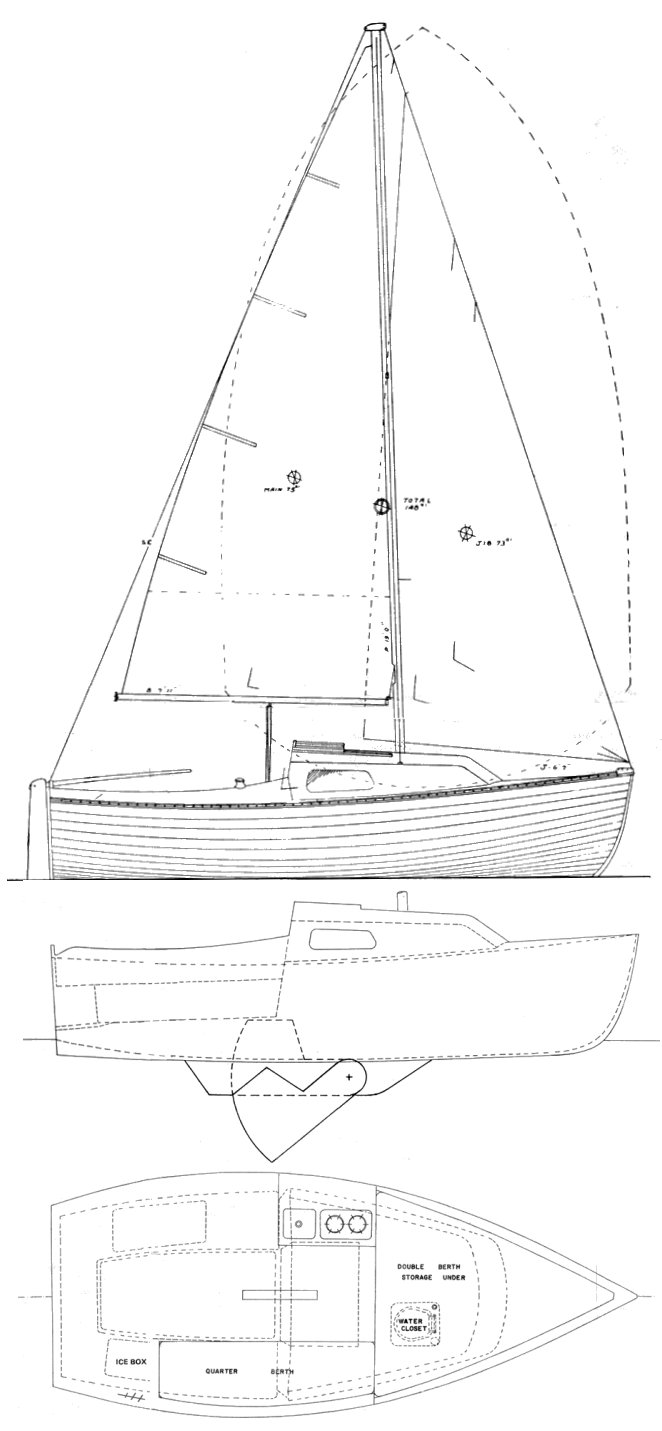 Montgomery 17 drawing on sailboatdata.com