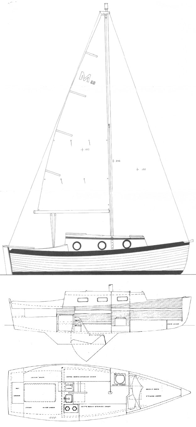 Montgomery 23 drawing on sailboatdata.com