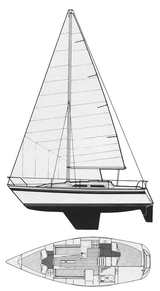 Moody 31 MKII drawing on sailboatdata.com