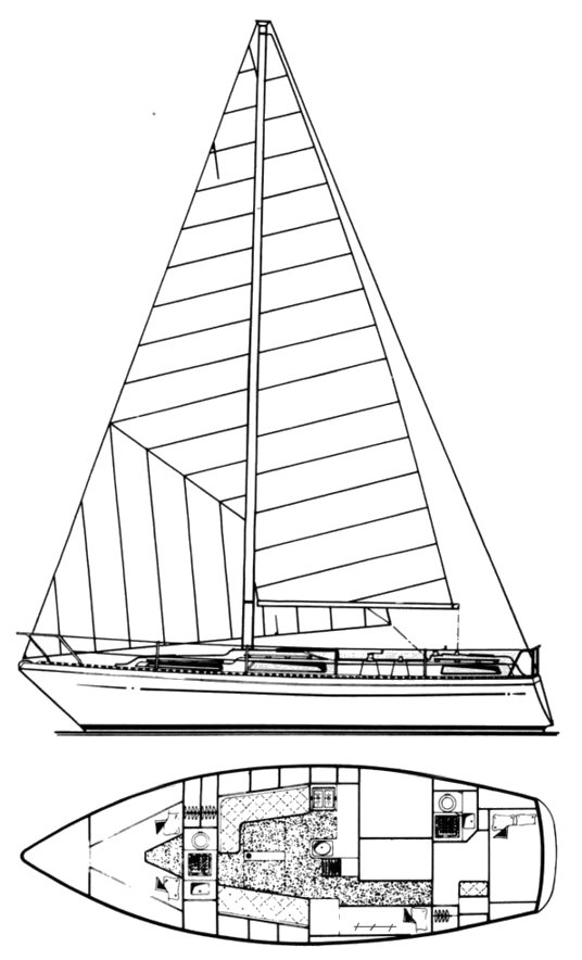 Moody 36 drawing on sailboatdata.com