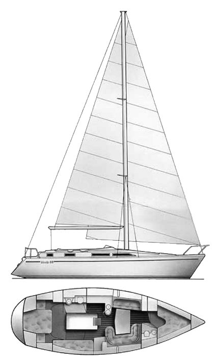 Moody 38 drawing on sailboatdata.com