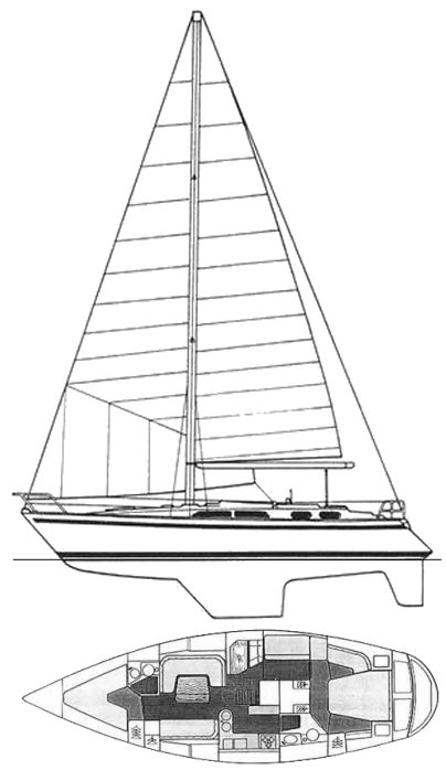Moody 425 drawing on sailboatdata.com