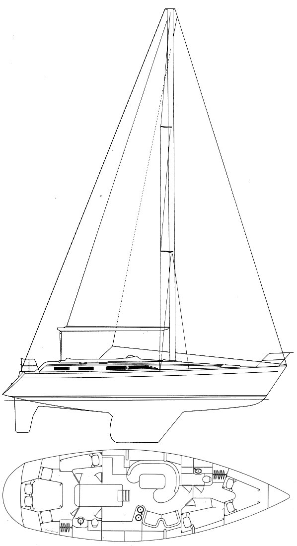 Moody 44-2 drawing on sailboatdata.com