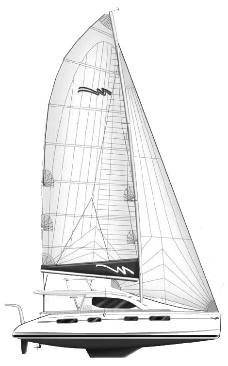 Moorings 4600 drawing on sailboatdata.com