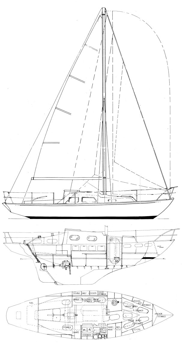 Morgan-Giles 30 drawing on sailboatdata.com