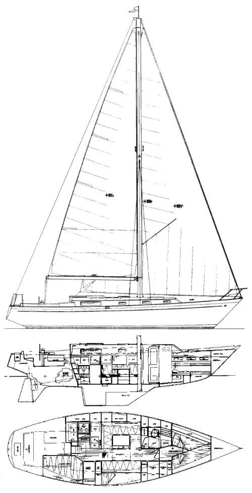 Morgan 382 drawing on sailboatdata.com