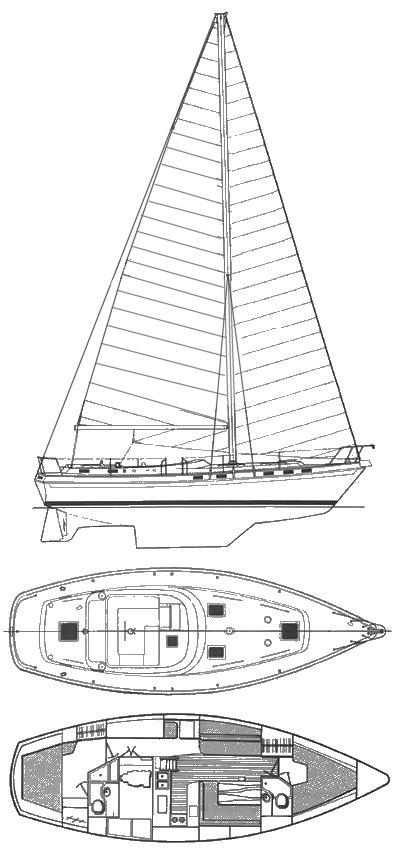 Morgan Out Island 41 Classic drawing on sailboatdata.com