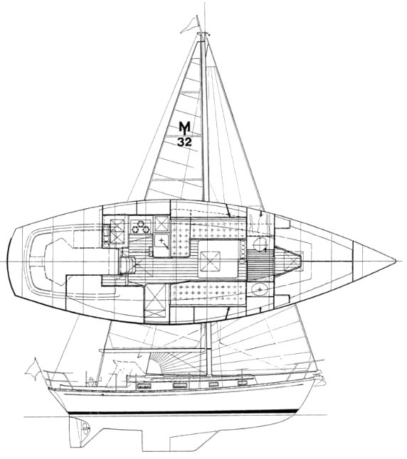 Morris 32 drawing on sailboatdata.com