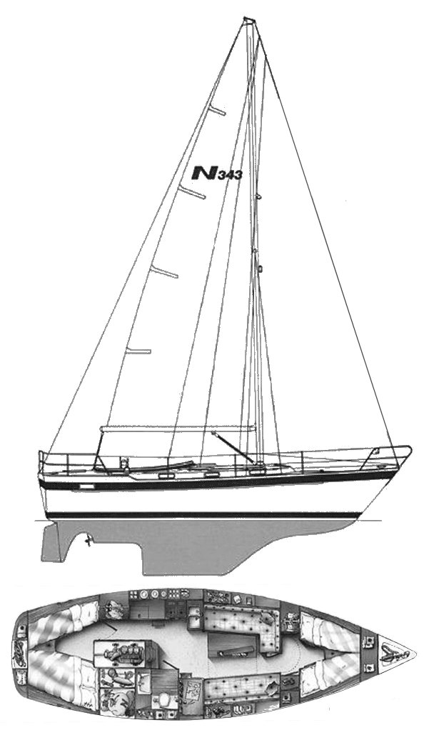 Najad 343 drawing on sailboatdata.com
